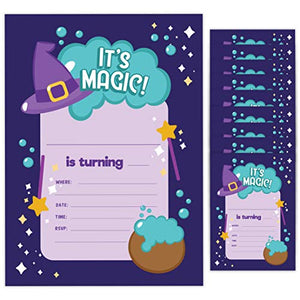 Wizard Style 2 Happy Birthday Invitations Invite Cards (10 Count) With Envelopes Boys Girls Kids Party (10ct)