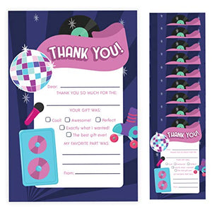 80's Thank You Cards (10 Count) With Envelopes Bulk Birthday Party Bridal Blank Graduation Kids Children Boy Girl Baby Shower (10ct. Fill-In Thank You)