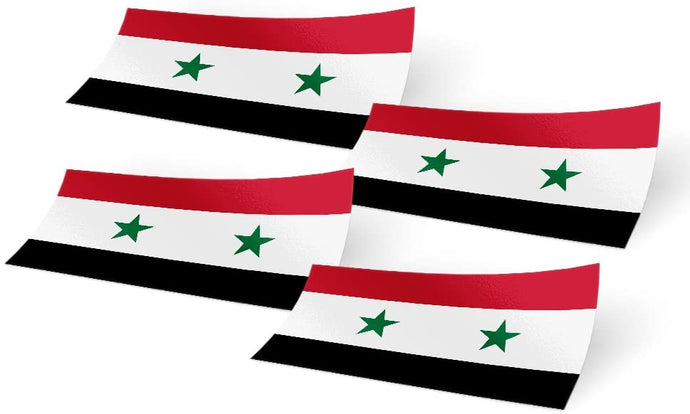 Syria 4 Pack of 4 Inch Wide Country Flag Stickers Decal for Window Laptop Computer Vinyl Car Bumper Scrapbook Syrian 4