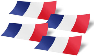 France 4 Pack of 4 Inch Wide Country Flag Stickers Decal for Window Laptop Computer Vinyl Car Bumper French 4