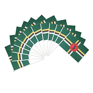 Dominica Polyester Country Flags Desk Outside Waving Parade Dominican (12-Pack Hand Flag)