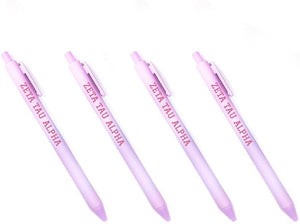 Zeta Tau Alpha Light Purple Pen with Pink Block Font 4-Pack of Sorority Pens zeta