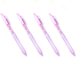 Alpha Phi Light Purple Pen with Pink Block Font 4-Pack of Sorority Pens A Phi
