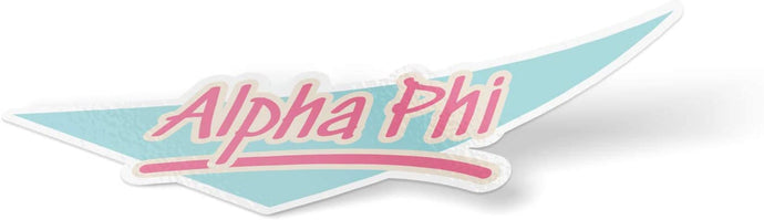 Alpha Phi 90's Sticker Decal Greek for Window Laptop Computer Car (Design 5)