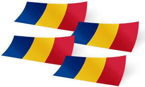 Romania 4 Pack of 4 Inch Wide Country Flag Stickers Decal for Window Laptop Computer Vinyl Car Bumper Scrapbook Romanian 4