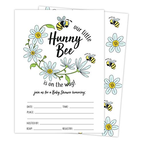 Bee 3 Bumble Bee Baby Shower Invitations Invite Cards (25 Count) With Envelopes and Seal Stickers Vinyl Girl Boy (25ct Baby)