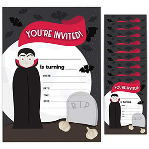 Vampire 1 Happy Birthday Invitations Invite Cards (10 Count) With Envelopes Boys Girls Kids Party (10ct)