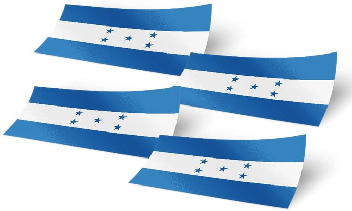 Honduras 4 Pack of 4 Inch Wide Country Flag Stickers Decal for Window Laptop Computer Vinyl Car Bumper Honduran 4