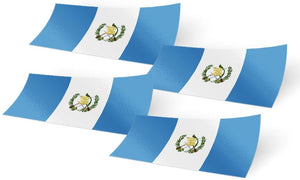 Guatemala 4 Pack of 4 Inch Wide Country Flag Stickers Decal for Window Laptop Computer Vinyl Car Bumper Scrapbook Guatemalan 4