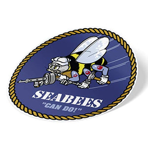 US Navy Emblem Logo Construction Battalions Vinyl Decal Laptop Water Bottle Car Scrapbook Officially Licensed United States (Sticker - Seabees)