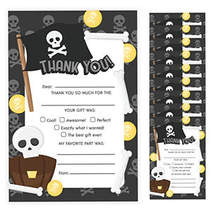 Skull Thank You Cards (10 Count) With Envelopes Bulk Birthday Party Bridal Blank Graduation Kids Children Boy Girl Baby Shower (10ct. Fill-In Thank You)