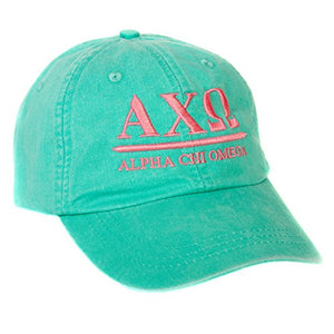 Alpha Chi Omega (B) Sorority Embroidered Baseball Hat Cap Cursive Name Font AXO (Seafoam)