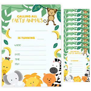 Zoo Style 3 Happy Birthday Invitations Invite Cards (10 Count) With Envelopes Boys Girls Kids Party (10ct)