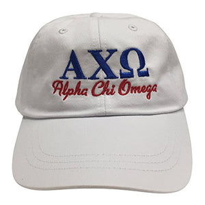 Alpha Chi Omega (S) Sorority Embroidered Baseball Hat Cap Cursive Name Font AXO (White)