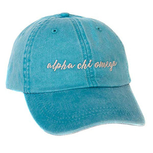 Alpha Chi Omega (N) Sorority Bright Blue Baseball Hat Cap Cursive Name Font with Gray Thread AXO (Bright Blue - N)