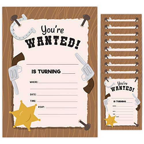 Western Style 2 Happy Birthday Invitations Invite Cards (10 Count) With Envelopes Boys Girls Kids Party (10ct)
