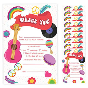 70's Thank You Cards (10 Count) With Envelopes Bulk Birthday Party Bridal Blank Graduation Kids Children Boy Girl Baby Shower (10ct. Fill-In Thank You)