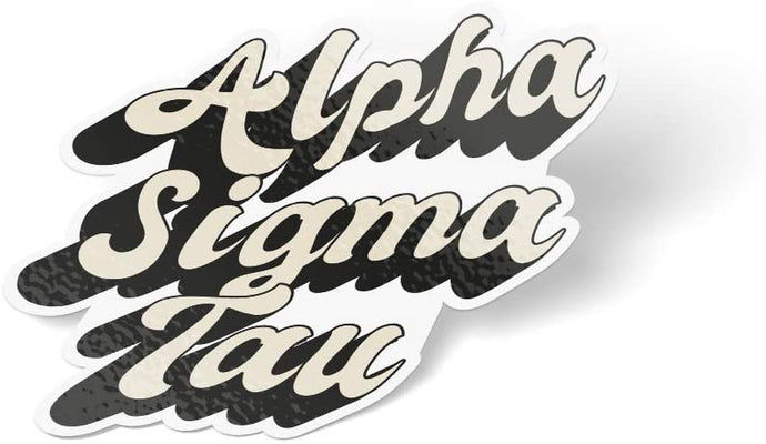 Alpha Sigma Tau 70's Sticker Decal Greek for Window Laptop Computer Car AST (Design 3)