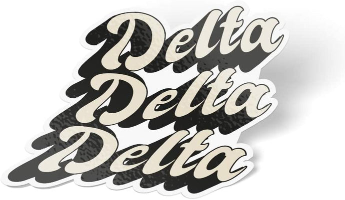 Delta Delta Delta 70's Sticker Decal Greek for Window Laptop Computer Car tri delta (Design 3)