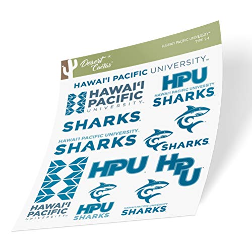 Hawaii Pacific University HPU Sharks NCAA Sticker Vinyl Decal Laptop Water Bottle Car Scrapbook (Type 2 Sheet)