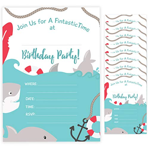 Shark Style 3 Happy Birthday Invitations Invite Cards (10 Count) With Envelopes Boys Girls Kids Party (10ct)