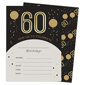 60th Birthday Style 4 Happy Birthday Invitations Invite Cards (25 Count) With Envelopes and Seal Stickers Vinyl Girls Boys Kids Party (25ct)