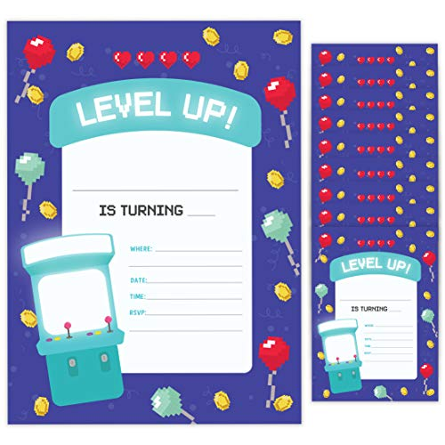 Arcade Style 2 Happy Birthday Invitations Invite Cards (10 Count) With Envelopes Boys Girls Kids Party (10ct)