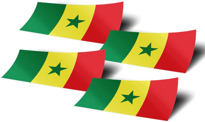 Senegal 4 Pack of 4 Inch Wide Country Flag Stickers Decal for Window Laptop Computer Vinyl Car Bumper Scrapbook Senegalese 4