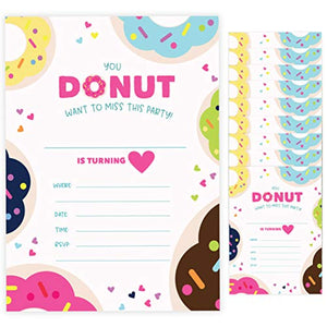 Donut Style 1 Happy Birthday Invitations Invite Cards (10 Count) With Envelopes Doughnut Boys Girls Kids Party (10ct)