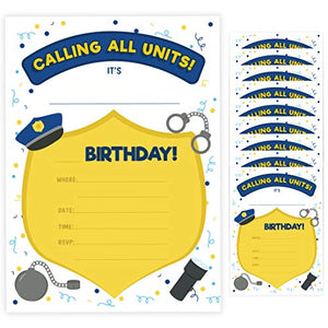 Police 2 Happy Birthday Invitations Invite Cards (10 Count) With Envelopes Boys Girls Kids Party (10ct)