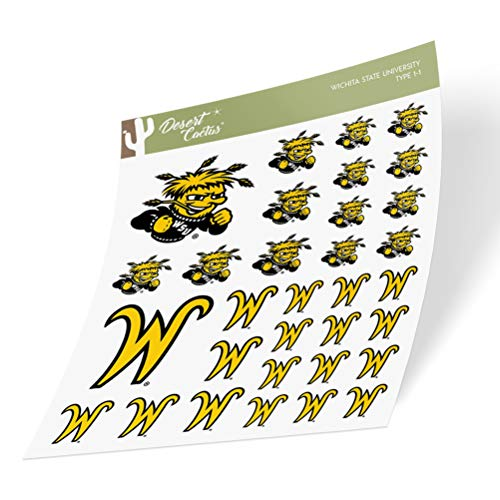 Wichita State University WSU Shockers NCAA Sticker Vinyl Decal Laptop Water Bottle Car Scrapbook (Type 1 Sheet)