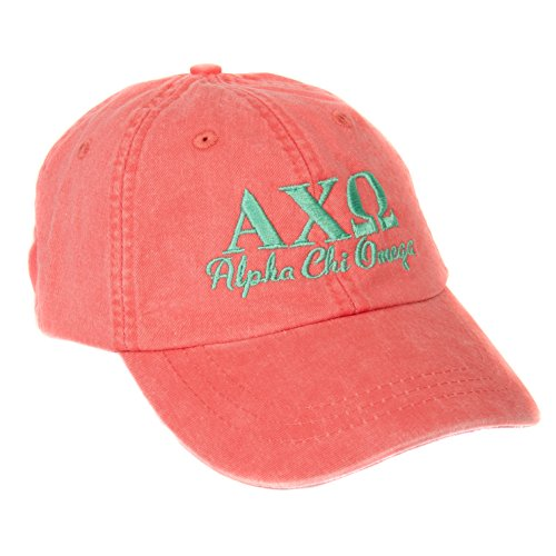 Alpha Chi Omega (S) Sorority Embroidered Baseball Hat Cap Cursive Name Font AXO (Coral)
