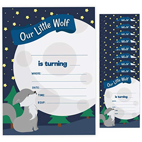 Wolf 1 Happy Birthday Invitations Invite Cards (10 Count) With Envelopes Boys Girls Kids Party (10ct)