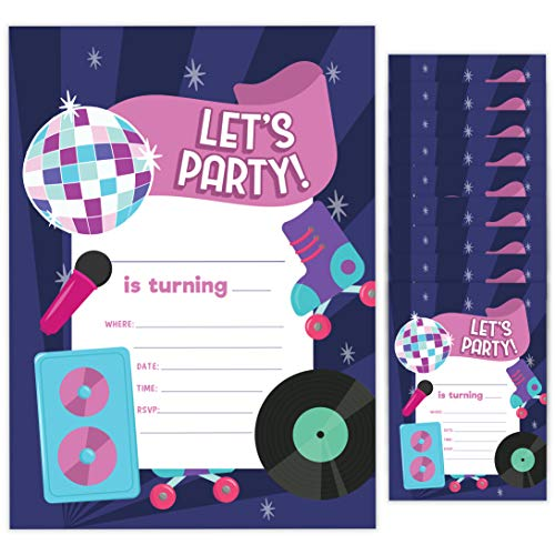 80's Style 1 Happy Birthday Invitations Invite Cards (10 Count) With Envelopes Boys Girls Kids Party (10ct)