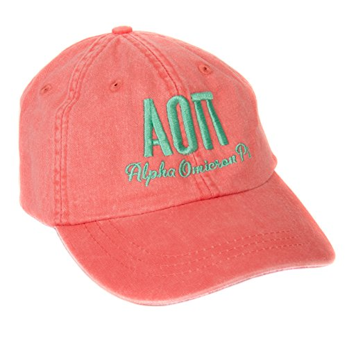 Alpha Omicron Pi (S) Sorority Embroidered Baseball Hat Cap Cursive Name Font aoii (Coral)