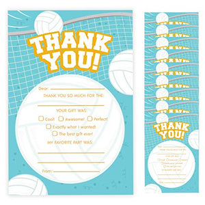 Volleyball Thank You Cards (10 Count) With Envelopes Bulk Birthday Party Bridal Blank Graduation Kids Children Boy Girl Baby Shower (10ct. Fill-In Thank You)