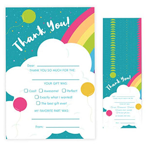 Rainbow Fill In Thank You Cards (25 Count) With Envelopes Bulk Birthday Party Kids Children Boy Girl (25ct. Fill Thank You)