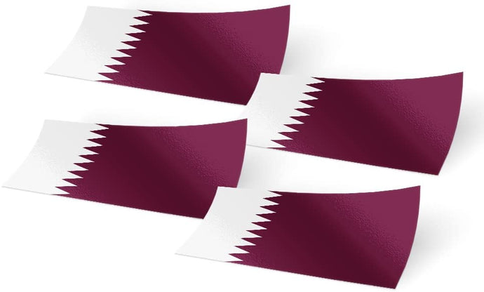 Qatar 4 Pack of 4 Inch Wide Country Flag Stickers Decal for Window Laptop Computer Vinyl Car Bumper Scrapbook Qatari 4