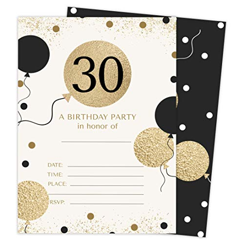 30th Birthday Style 1 Happy Birthday Invitations Invite Cards (25 Count) With Envelopes and Seal Stickers Vinyl Girls Boys Kids Party (25ct)