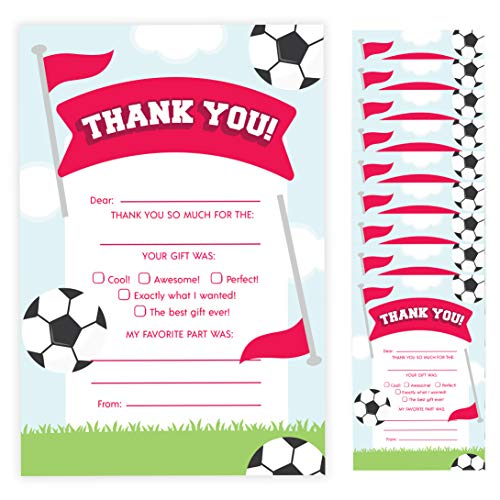 Soccer Thank You Cards (10 Count) With Envelopes Bulk Birthday Party Bridal Blank Graduation Kids Children Boy Girl Baby Shower (10ct. Fill-In Thank You)