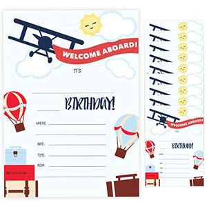 Airplane Style 1 Happy Birthday Invitations Invite Cards (10 Count) With Envelopes Boys Girls Kids Party (10ct)