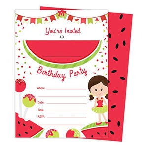Watermelon Fruit 1 Happy Birthday Invitations Invite Cards (25 Count) With Envelopes and Seal Stickers Vinyl Girls Kids Party (25ct)