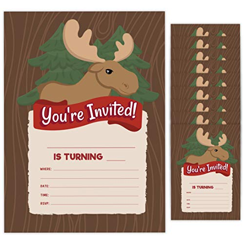 Moose Style 2 Happy Birthday Invitations Invite Cards (10 Count) With Envelopes Boys Girls Kids Party (10ct)