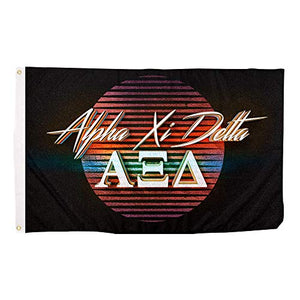Alpha Xi Delta 80's Letter Sorority Flag Banner 3 feet x 5 feet Sign Decor AZD (Flag - 80?s)