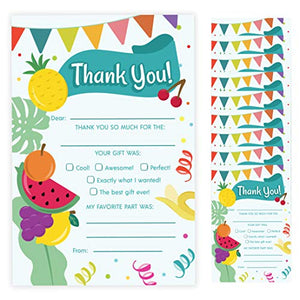 Tutti Fruity Thank You Cards (10 Count) With Envelopes Bulk Birthday Party Bridal Blank Graduation Kids Children Boy Girl Baby Shower (10ct. Fill-In Thank You)