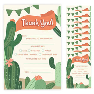 Cactus Thank You Cards (10 Count) With Envelopes Bulk Birthday Party Bridal Blank Graduation Kids Children Boy Girl Baby Shower (10ct. Fill-In Thank You)