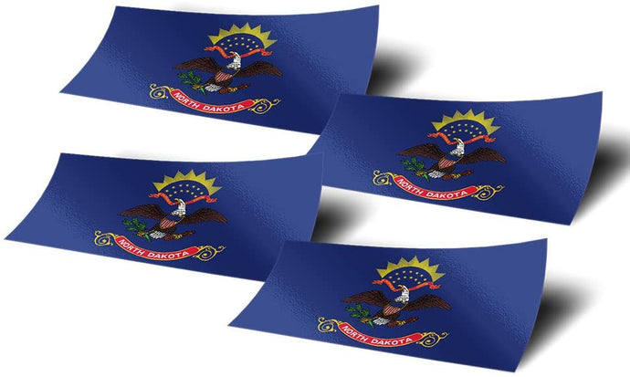North Dakota ND 4 Pack of 4 Inch Wide State Flag Stickers Decal for Window Laptop Computer Vinyl Car Bumper Scrapbook North Dakotan 4