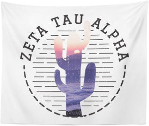 Zeta Tau Alpha Sorority Wall Tapestry Dorm Apartment 60 Inches x 80 Inches zeta (Water Color Cactus)