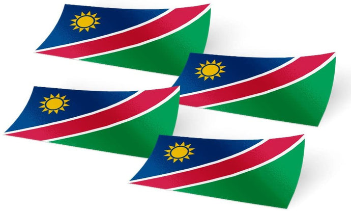 Namibia 4 Pack of 4 Inch Wide Country Flag Stickers Decal for Window Laptop Computer Vinyl Car Bumper Scrapbook Namibian 4