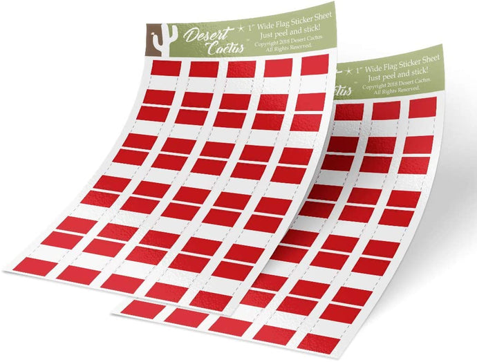 Peru Country Flag Sticker Decal 1 Inch Rectangle Two Sheets 50 Total Pieces Kids Logo Scrapbook Car Vinyl Window Bumper Laptop Peruvian R